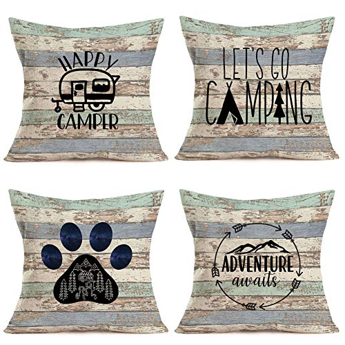 Royalours Camping Happy Camper Pillow Covers Cotton Linen