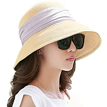 Womens UPF 50+ Packable Summer Sun Straw Hat Wide Brim Foldable Adjustable for Lady Beige