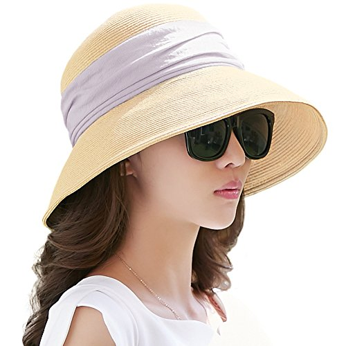 Siggi Womens Foldable Straw Cloche Panama Floppy Summer Beach Sun Hat Wide Brim Beige]()