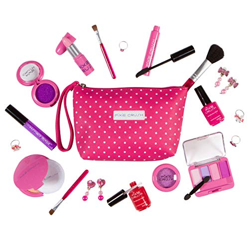 PixieCrush Pretend Play Cosmetic and Makeup Set - 19 Piece Designer Kit with Pink Polka Dot Handbag