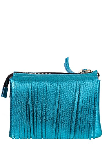 GUM BY GIANNI CHIARINI BORSA TRACOLLA LATTICE BLU FRANGE, 3689.GUM