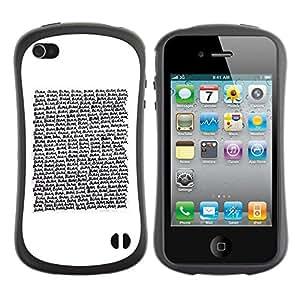 LASTONE PHONE CASE / Suave Silicona Caso Carcasa de Caucho Funda para Apple Iphone 4 / 4S / Text Reading Quote White Minimalist