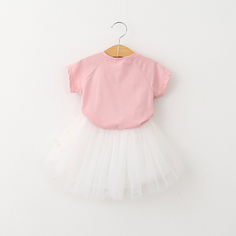 Pink TINKSKY Two-Piece Cat Tutu Skirt Set Pink T Shirt Butterfly Grey Skirt For 2-3 Years Girls