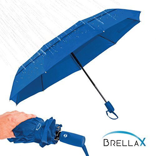 Compact Umbrella for Women and Men by Brellax - Travel umbrella with Case, Lightweight, Windproof - Double Canopy Reinforced - Auto Open / Close, Ergonomic Handle - Navy - Close Men