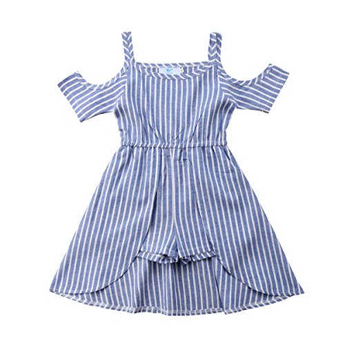 MA&BABY Princess Kids Baby Girls Off Shoulder Blue Striped Dress Outfits Clothes 1-6 Yrs (5-6 Years)