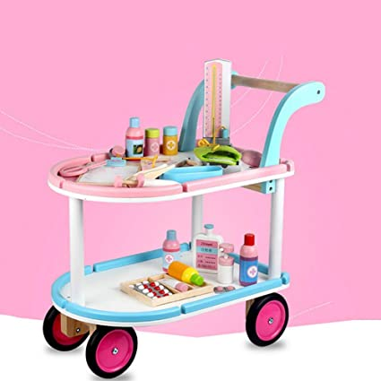 LYXF Doctors Kit Carro Médico Juguete De Madera In with Wheels Juego De Roles Fun Playset