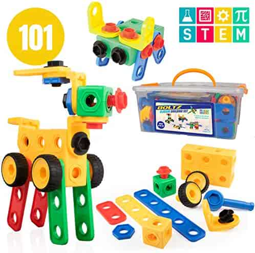 USA Toyz STEM Building Toys for Kids – 101pk Educational Learning STEAM Building Games, Engineering Construction Gears, Boys Girls Ages 3 4 5 6 7 8 9 Years Up