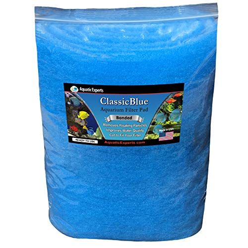 Aquatic Experts Classic Bonded Aquarium Filter Pad -12 Inches by 72 Inches by .75 Inch - Blue and White Aquarium Filter Media Roll Bulk Can Be Cut to Fit Most Filters, Made in USA