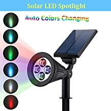 BrothersLED Solar RGB LED Path Lights Uplight Wall Light Spotlight with Waterproof Design for Outdoor Landscape Yard Garden Patio Lawn Accent Pond Lighting (1, Color Changing)
