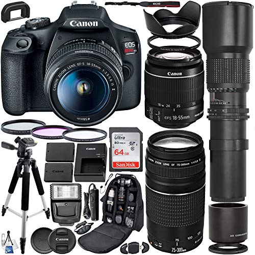 Canon EOS Rebel T7 DSLR Camera with EF-S 18-55mm is II & EF 75-300mm III Canon Lenses + 500mm Preset Lens with 2X Teleconverter (1000mm) + Premium Accessory Bundle (Best 500mm Lens For Canon)