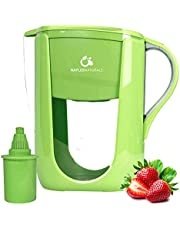 Alkaline Water Filter Pitcher with 6-Stage Carbon Water Filter - Removes Chlorine and Contaminants Plus Increases pH