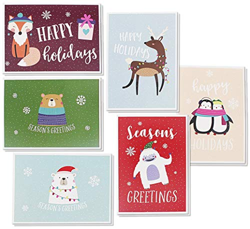 48 Pack of Christmas Winter Holiday Family Greeting Cards - Cute Animals in the Snow Designs - Boxed with 48 Count White Envelopes Included - 4.5 x 6.25 Inches