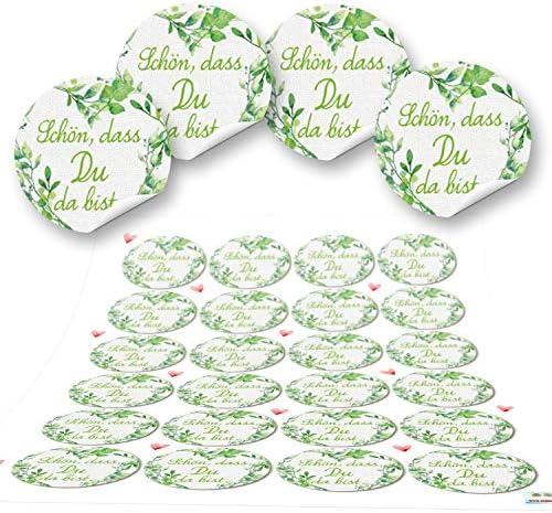 Logbuch-Verlag 72 Aufkleber rund grün hellgrün weiß SCHÖN DASS DU DA BIST 4 cm Geschenkaufkleber Etiketten Sticker - Hochzeit Taufe Geburtstag Gastgeschenk give-away Deko