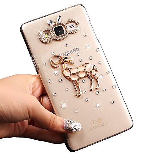 Sunroyal® Transparente con Bling Diamante para Samsung Galaxy J3 (2016) SM-J320F Funda Protector Bumper Slim PC Case Cover Bling Diamond Caja Protectora Ultra Delgado Crystal Clear Cubierta Caso Parac A-06