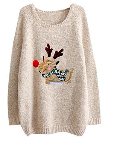 Casual Cute Ugly Christmas Elk Cable Knit Pullover Sweater