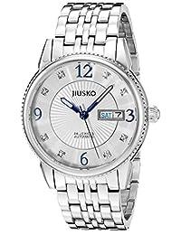 Jiusko Mens 24 Jeweled Automatic Silver Dress Wrist Watch - Sapphire - Stainless Steel -Day Date - Exhibition Caseback - 118MLS3