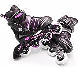 Junior 4 Wheel Adjustable Inline Skates Childrens Kids Boys Girls Roller Blades (Pink Stripes Large /UK 5 - 7/)