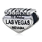 Ollia Jewelry Antique 925 Sterling Silver Beads Welcome to Fabulous Las Vegas Sign Charm Nevada USA Charm Travel Beads