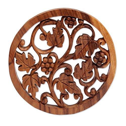 NOVICA Decorative Wood Wall Sculpture, Brown, Grapevine'