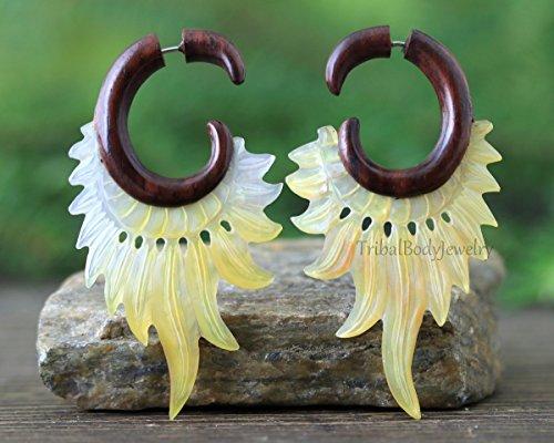 Hand Carved Mother of Pearl and Sono Wood Faux Gauge Earrings - Earrings for Regular Pierced Ear - Handmade Fake Gauge Earrings