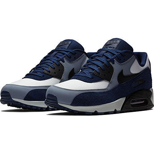 NIKE Mens Air Max 90 Leather Running Shoes Blue VoidBlackAshen Slate 302519 400 Size 11.5