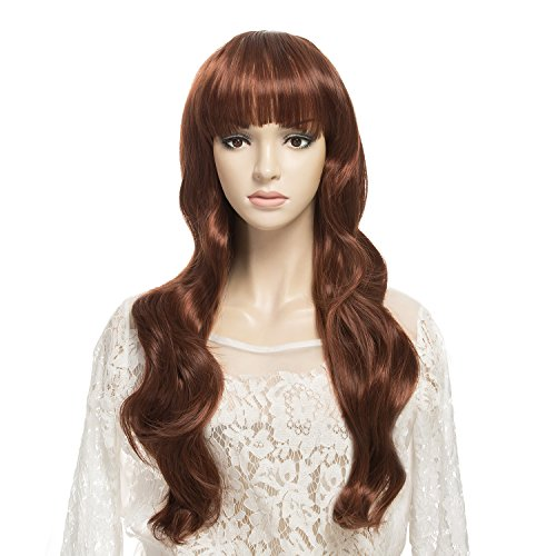 [DAOTS Wig Long Curly Brown Wigs for Women, Free Wig Cap and Bobby Pins, 28