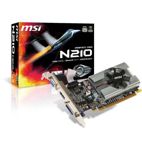 MSI MSI NVIDIA GeForce 210 1GB GDDR3 VGADVIHDMI Low Profile PCI-Express Video Card / N210-MD1G/D3 /