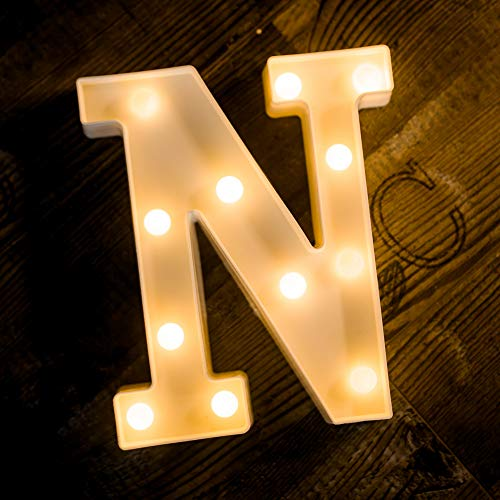Foaky LED Letter Lights Sign 26 Alphabet Light Up Letters Sign for Night Light Wedding Birthday Party Battery Powered Christmas Lamp Home Bar Decoration ()