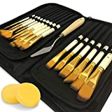 DUGATO Artist Paint Brush Set 15pcs Includes Pop-up Carrying Case with Free Palette Knife and 2 Sponges for Acrylic,...