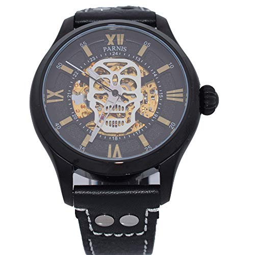 (43mm Parnis Silver Skull Dial Skeleton Luminous Sapphire 21 Jewels Golden Miyota Automatic Movement Men's)