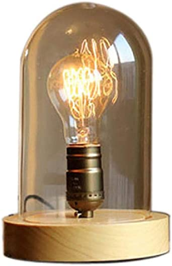 Lámpara de mesa vintage Estilo retro Lámpara Edison E27 Madera ...