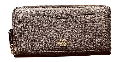Coach Crossgrain Leather Accordion Zip Wallet (Metallic ()