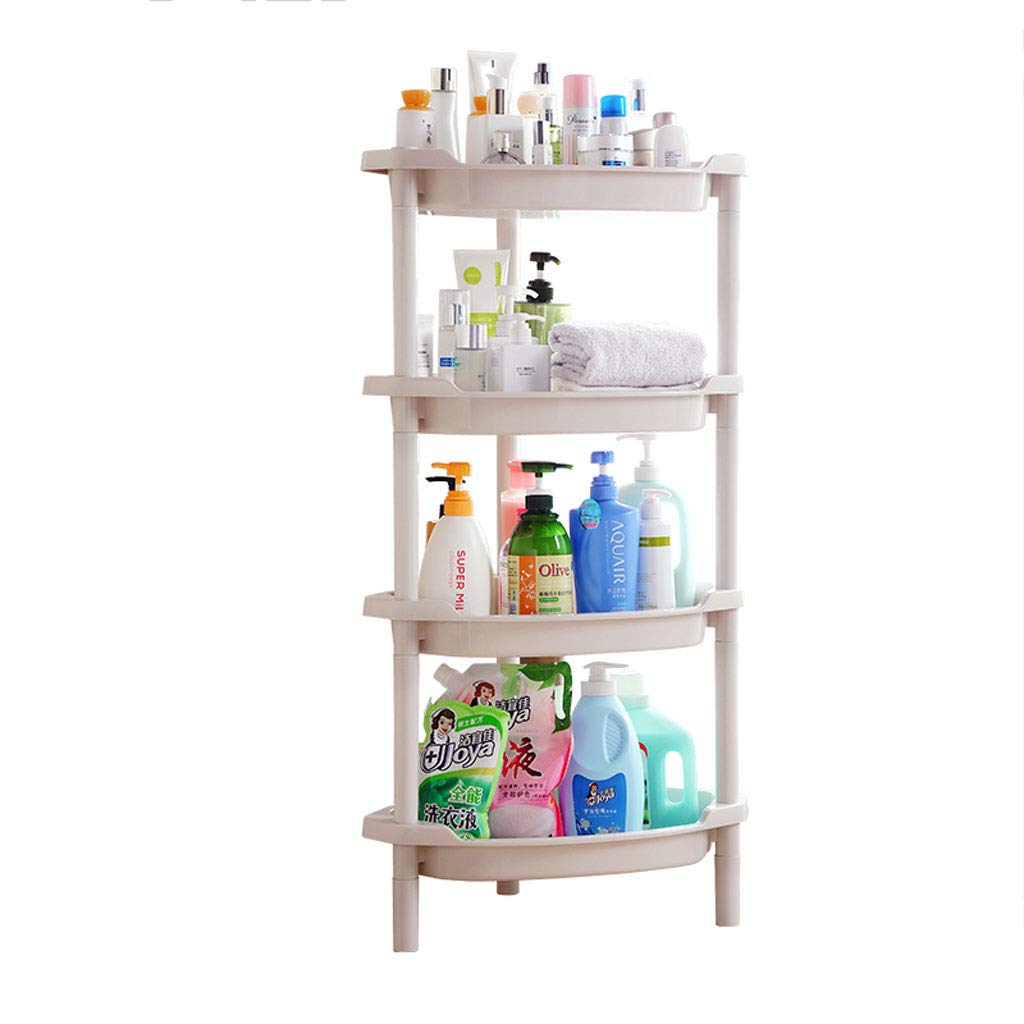 Bathroom rack GX Triangle Floor-standing plastic Free Of Perforated Toilet Storage Rack And Fruit Rack And Home Decoration (Size : Four floors)