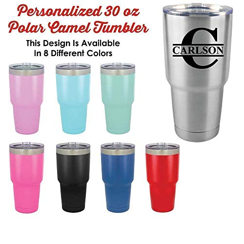 Personalized 30 oz Tumbler With Straw | Monogram Initial with Name | Compare Our Split Letter Custom Travel Mug To -