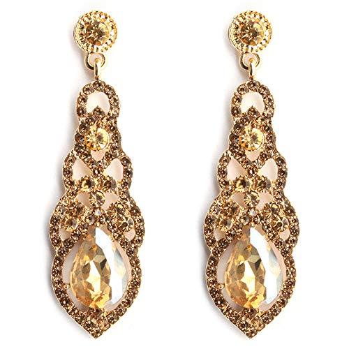 Jarrel Rhinestone Dangle Earrings Drop Sparkling Crystal Earrings for Women Girls (Gold)