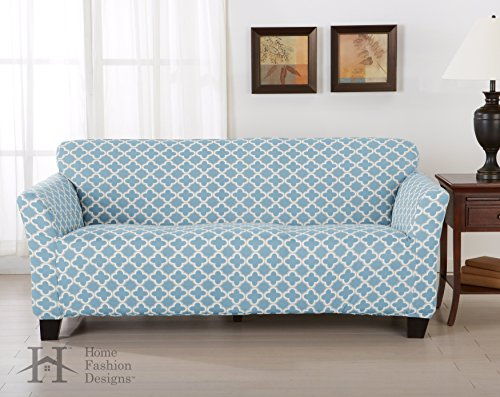 Light Brown Three Seat Sofa - Home Fashion Designs Form Fit, Slip Resistant, Stylish Furniture Cover/Protector Featuring Lightweight Stretch Twill Fabric. Brenna Collection Basic Strapless Slipcover. By Brand. (Sofa, Sky Blue)