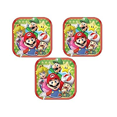 "Super Mario Square Dessert Plates 7"" (24 Pieces): Toys & Games"