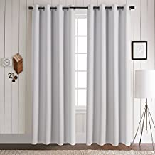 Aquazolax Premium Solid Top Ring Thermal Blackout Curtain Panels for Living Room (Set of 2 Panels, 52x84 Inch, Greyish White)