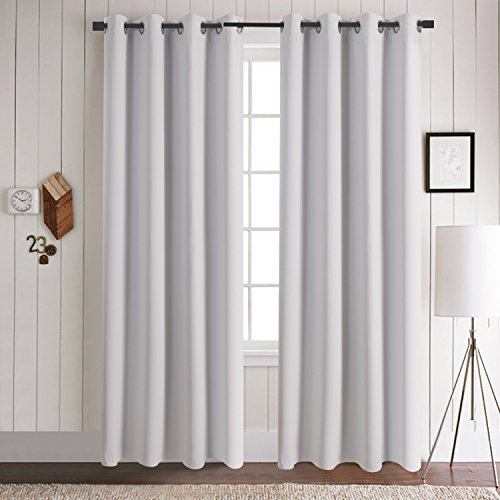 Grommet Solid Blackout Curtains - Aquazolax Thermal Insulated Blackout Curtain Panels Draperies 52x84 Inch for Living Room, 1 Panel, Greyish White (Sale Bedroom For Curtains)