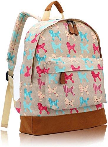 (Kukubird Multi Rucksack Dachsund Scotty Poodle Dog Design Single Pocket Backpack - POODLE BEIGE)