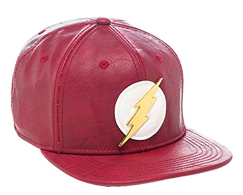 bioWorld Official- DC Comics Flash- Faux Leather Snapback Hat- One Size -