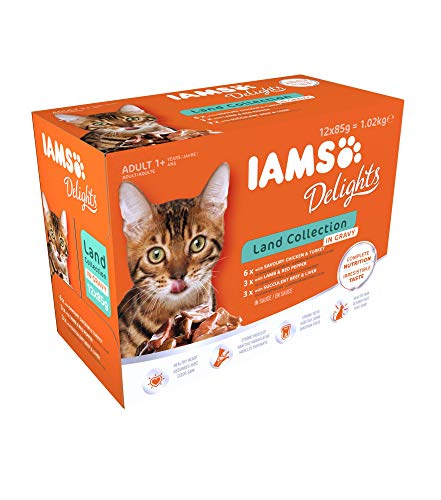 Iams Delights Land Collection Katzenfutter Nass – Multipack mit Fleisch Sorten (Lamm, Rind, Huhn & Pute) in Sauce…