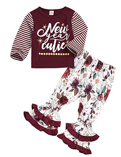 Miss Santa Tunic Set - New Years Outfit Baby Girls Long Sleeve Shirt Tunic Top Ruffle Pant Holiday Novelty Clothes (Wine red, 3-4Years)