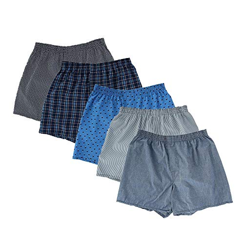 Fruit of the Loom Men's 5Pack Plaid Boxer Shorts Boxers Underwear XL