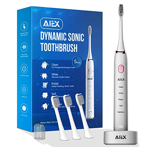 AIEX Sonic Electric Toothbrush with 3 Replacement Heads Rechargeable Electronic Toothbrush with Holder White Travel Toothbrush with 5 Modes/IPX7 Waterproof/USB Wireless Charging/Smart Timer/Travel -