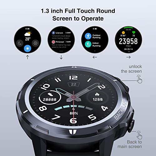 LETSCOM Smart Watch, Fitness Tracker with Heart Rate Monitor, IP68 Waterproof Smartwatch 1.3″ Touch Screen, Activity Tracker Step Counter Sleep Monitor Message Call Pedometer for Women and Men 51LOJm96XoL