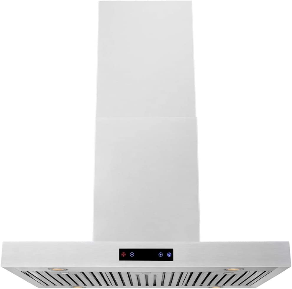 "DKB 36"" Inch Island Mounted Kitchen Hood In Brushed Stainless Steel With 600 CFM"