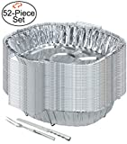 Tiger Chef 50-Pack, Disposable Durable Aluminum Large Oval Turkey Roasting Pan with Rack, Includes Stainless Steel Meat Knife and Fork, Extra Large Size 15'' x 10.63'' x 3'' High