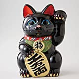 Beckoning cat black oval No. 8 left hand [ boxed ] Tokoname