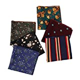 Houlife Men's Cotton Vintage Floral Pattern Pocket Square Handkerchief for Wedding